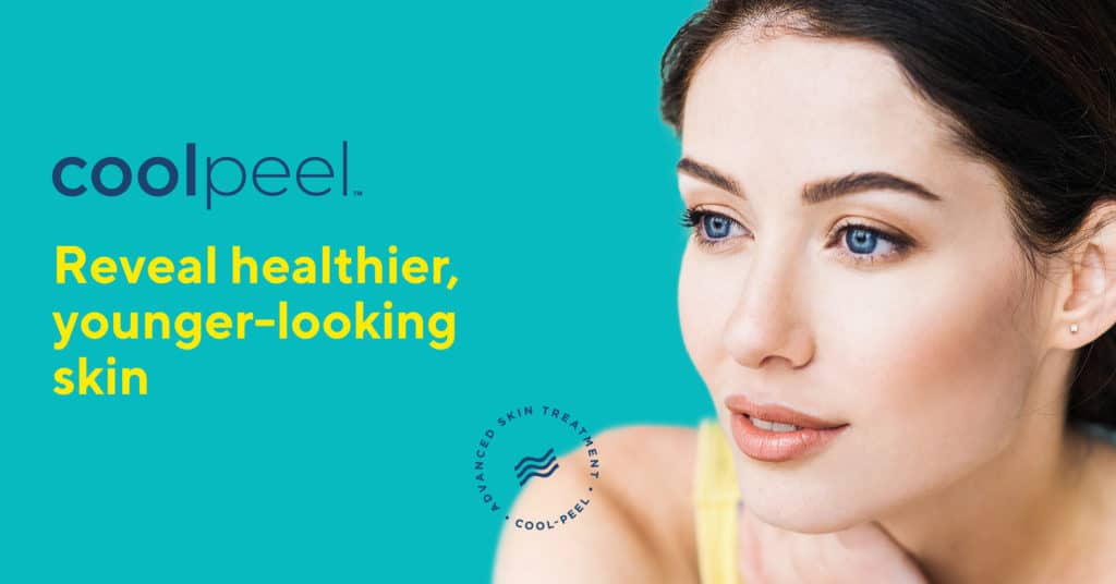 Coolpeel advertising image with a Caucasian woman on it